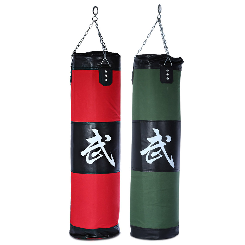 Zooboo 100cm Boxing Striking Drop Hollow Sand Bag with Chain Martial Art- Red 100cm/39.37inch
