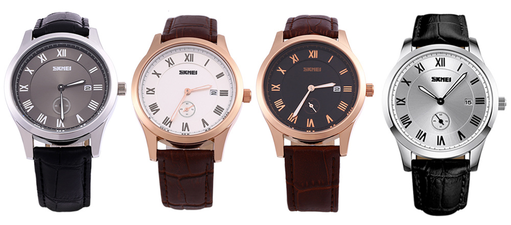 Skmei 1132 Fashion Men Business Watch Waterproof Quartz Leisure Wristwatch- White and Golden