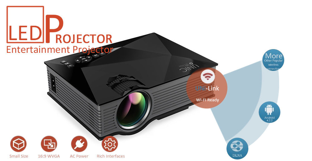 408b476b1f6795 UNIC UC46 + Wireless WIFI Mini Portable LED Video Home Cinema Projector  Support Miracast DLNA Airplay