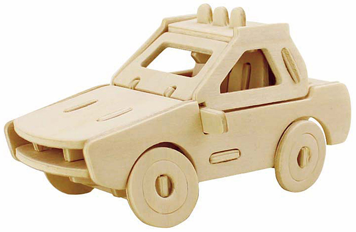 Robotime Police Car 3D Jigsaw Puzzle Woodcraft Assemble Toy