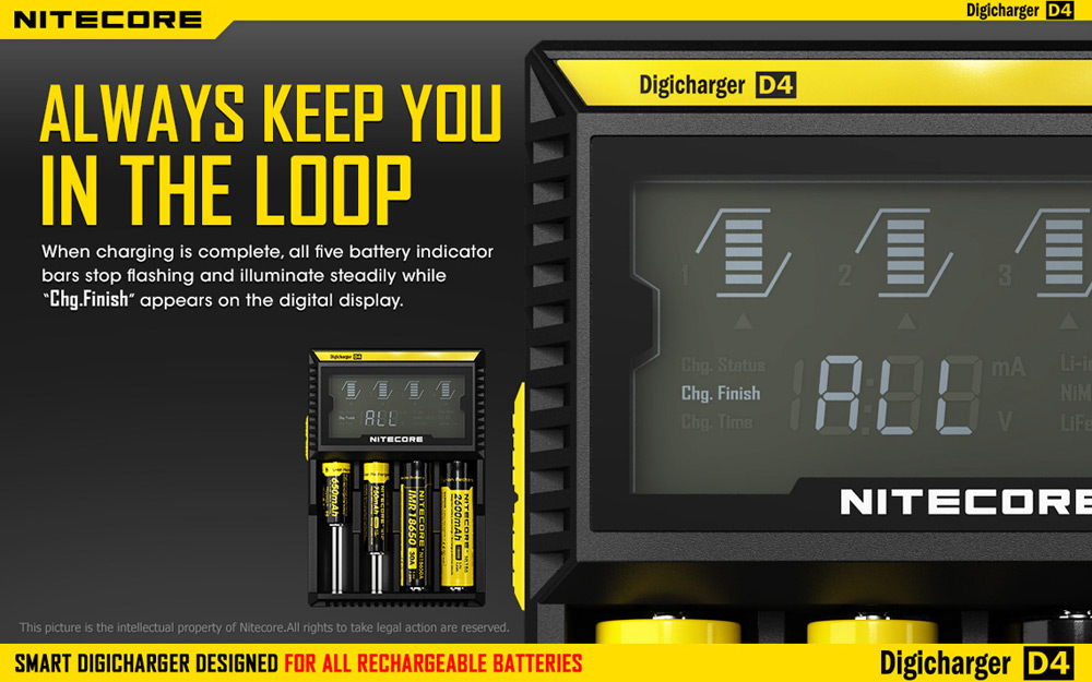 Nitecore D4 Intelligent Universal Battery Charger 4 Slots LCD Digicharger