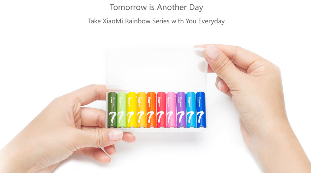 10pcs Original ZMI Rainbow Color AAA Alkaline Battery- Colorful