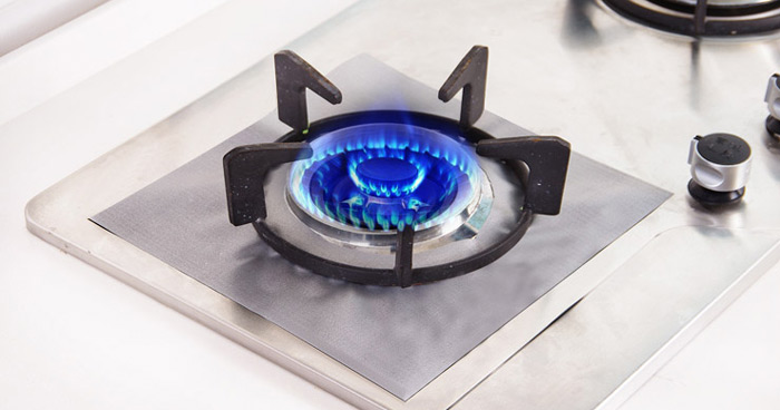 4PCS Reusable Gas Hob Protector Multi-functional Anti-dust Stove Protecting Plate- Silver