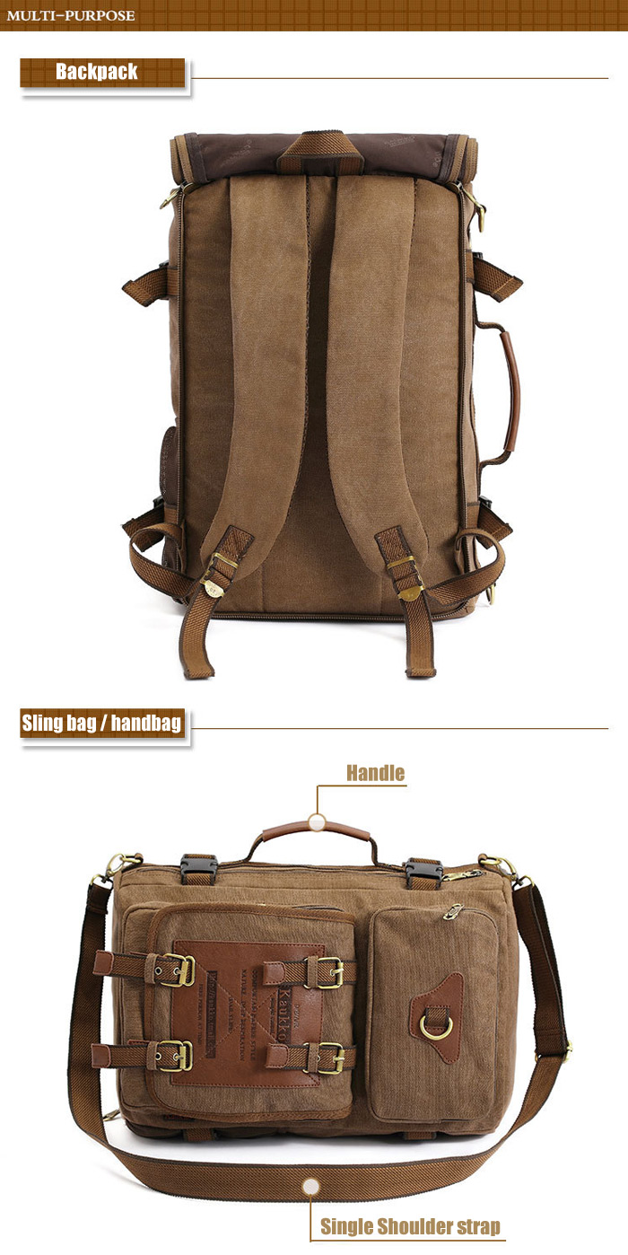 KAUKKO FH05 22L Multi-function Canvas Backpack for Men - Army Green