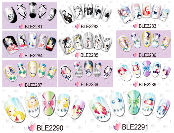 5PCS Pretty Girl Designs Nail Sticker Decals DIY Fingernail Art Sticker Template Decors
