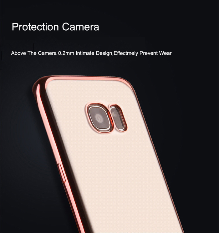 ASLING TPU Soft Protective Case for Samsung Galaxy S7 Edge Ultrathin Transparent Style Protector with Electroplated Edge