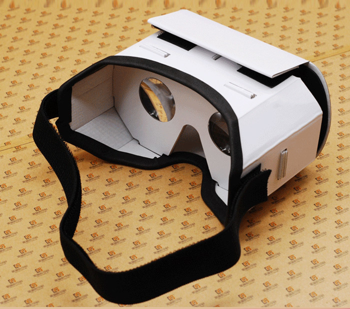 iBlue DIY Cardboard 3D VR Virtual Reality Glasses with Headband for 4.7 - 5.5 inches Smartphones