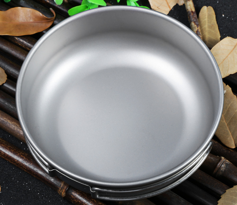 Keith Ti5325 500mL Titanium Bowl with Folding Handle for Outdoor Camping