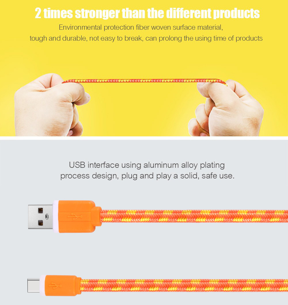 2M Type C Colorful Nylon Braided Transfer Data Sync Line Charging Cable