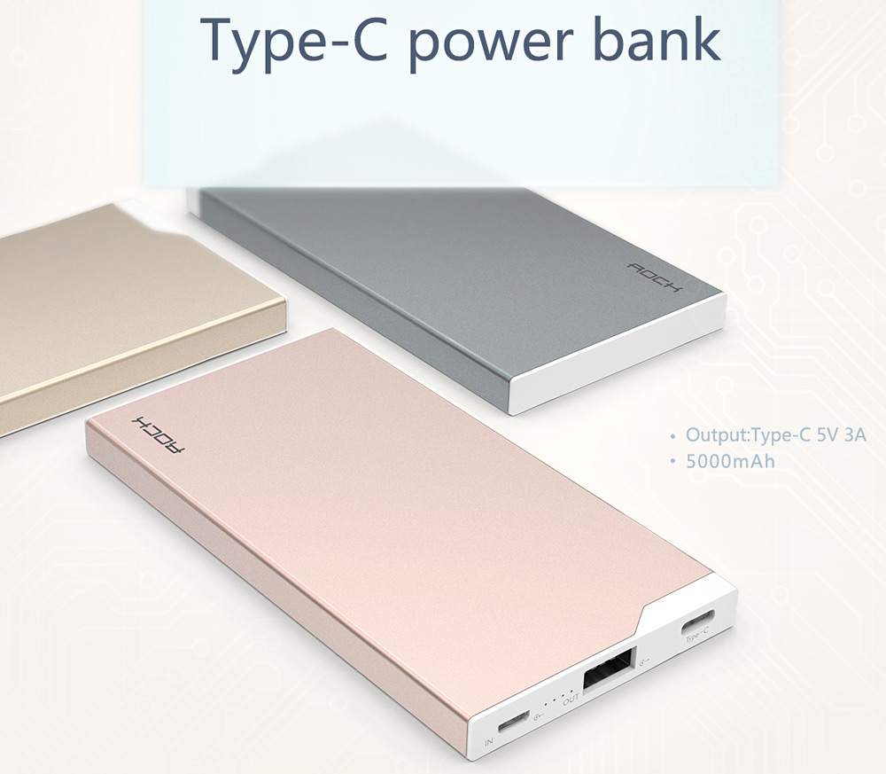 Rock 5000mah 30a Type C Power Bank 2436 Free Shipping Charger Lenovo P36 2a Original Package Contents 1 X Portable Charging External Battery Cable Bilingual User Manual In English And