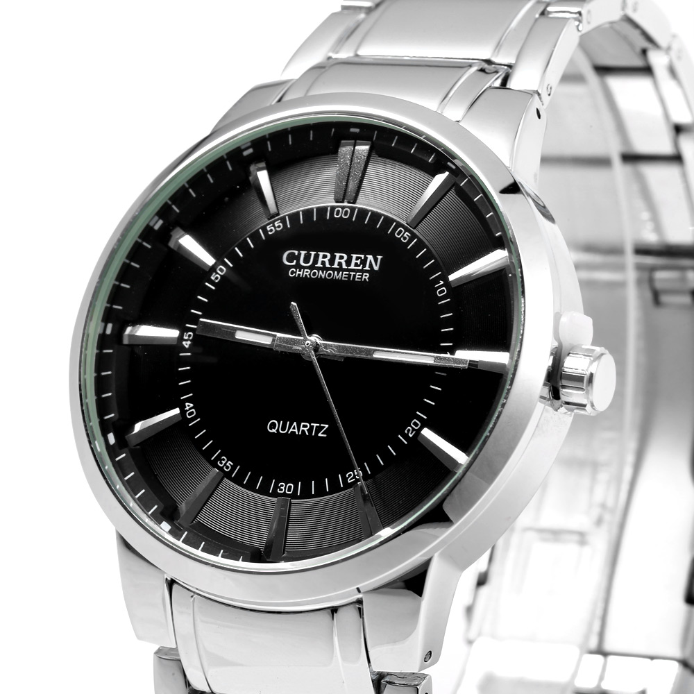 Curren 8001B Big Round Dial Quartz Watch Nail Scale for Men