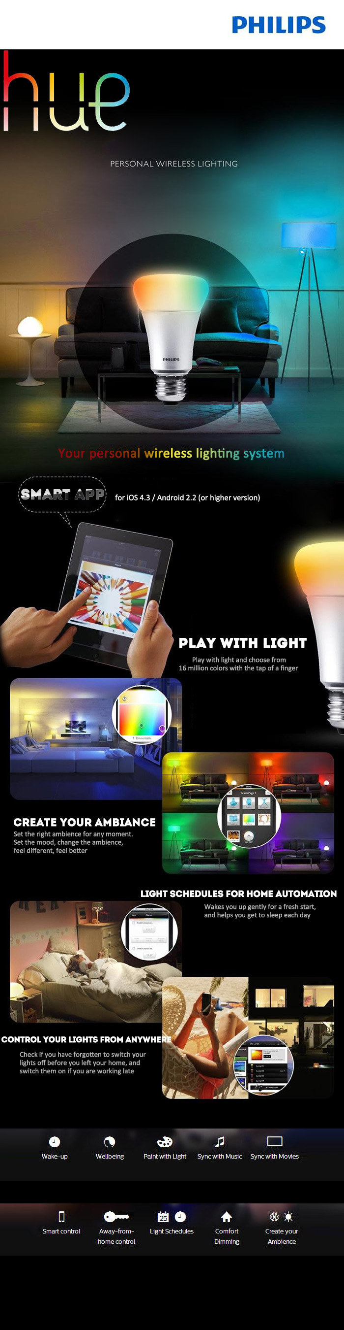 Philips Hue Wireless Control Smart Led Bulb E27 85w Ac 220 240v Tail Light Lamp Circuit Board W Bulbs Left Or Right Fits 0206 Once Youve Set Up Your System You Can Go On And Add To 50 Lights Turn Imagination With Find More