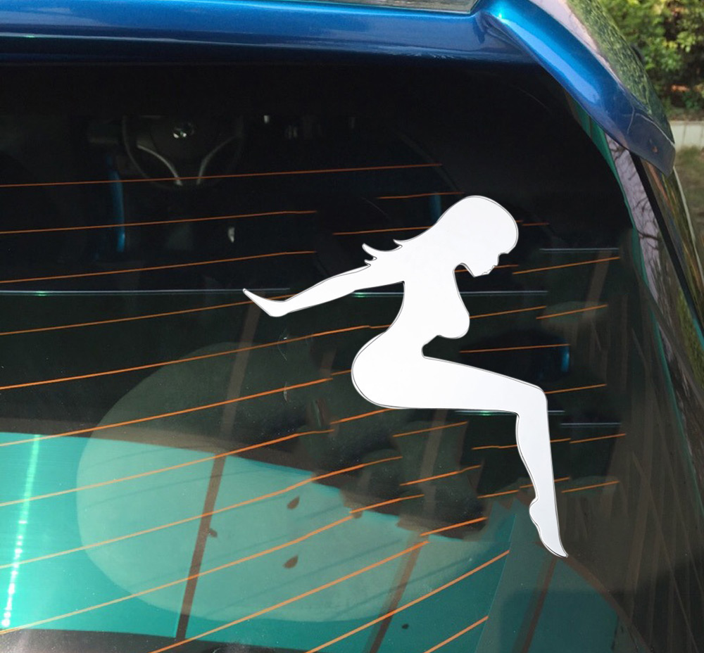 T17361 2pcs 3D Stainless Steel Auto Car Sticker Tracker Girl Emblem Decal Badge Decoration