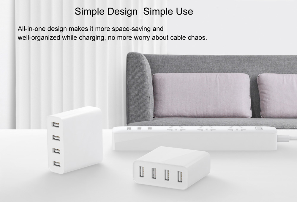 Original Xiaomi Mi 4 Ports USB Charger 2A Fast Charge with Overload Protection- White