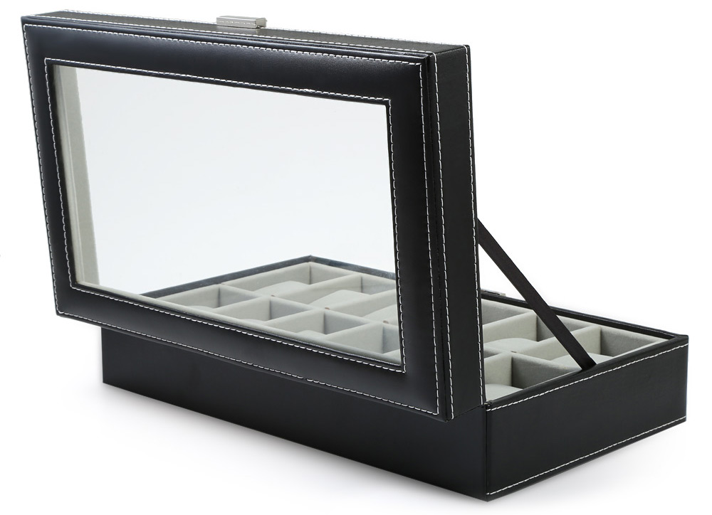 12 Grids PVC Leather Watch Case Jewelry Display Box