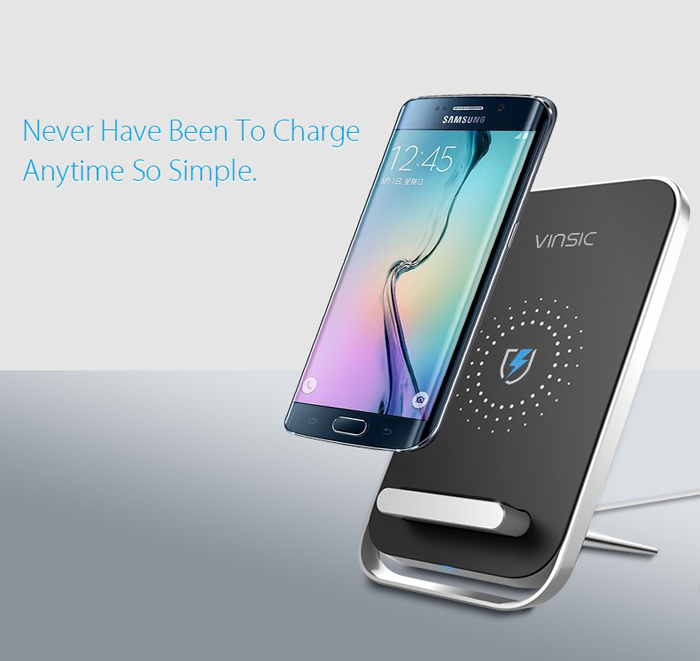 VINSIC Intelligent Qi Standard Wireless Charger Transmitter 60 Degrees Stand with Receiver