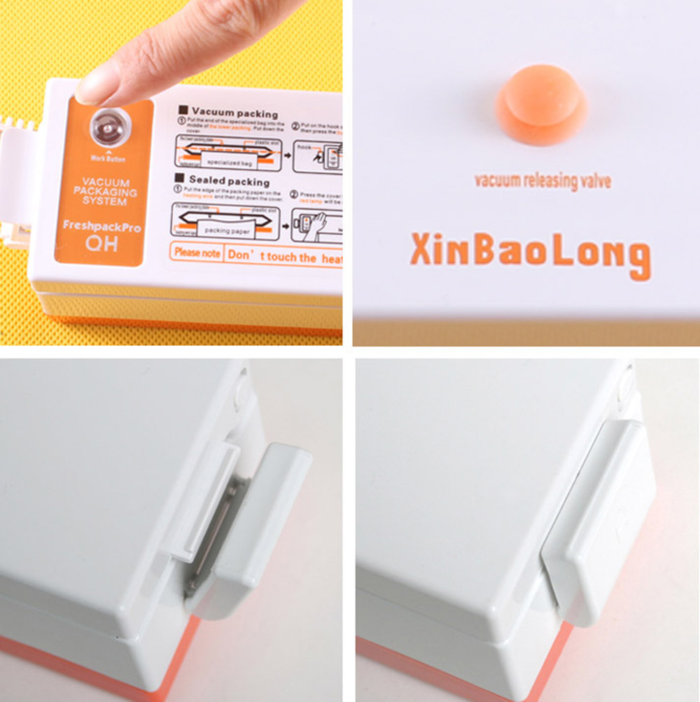 XinBaoLong QH - 01 Automatic Electric Vacuum Food Sealer Machine- Orange EU Plug