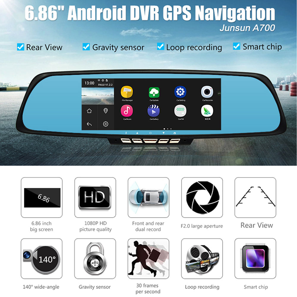 Junsun A700 Android Car Rearview Mirror Gps Navigator Dvr With Free Channel Remote View Mobile Shock Sensor And Wifi Antenna 686 Inch Split Display Dual Lens 44 Quad Core 1080p