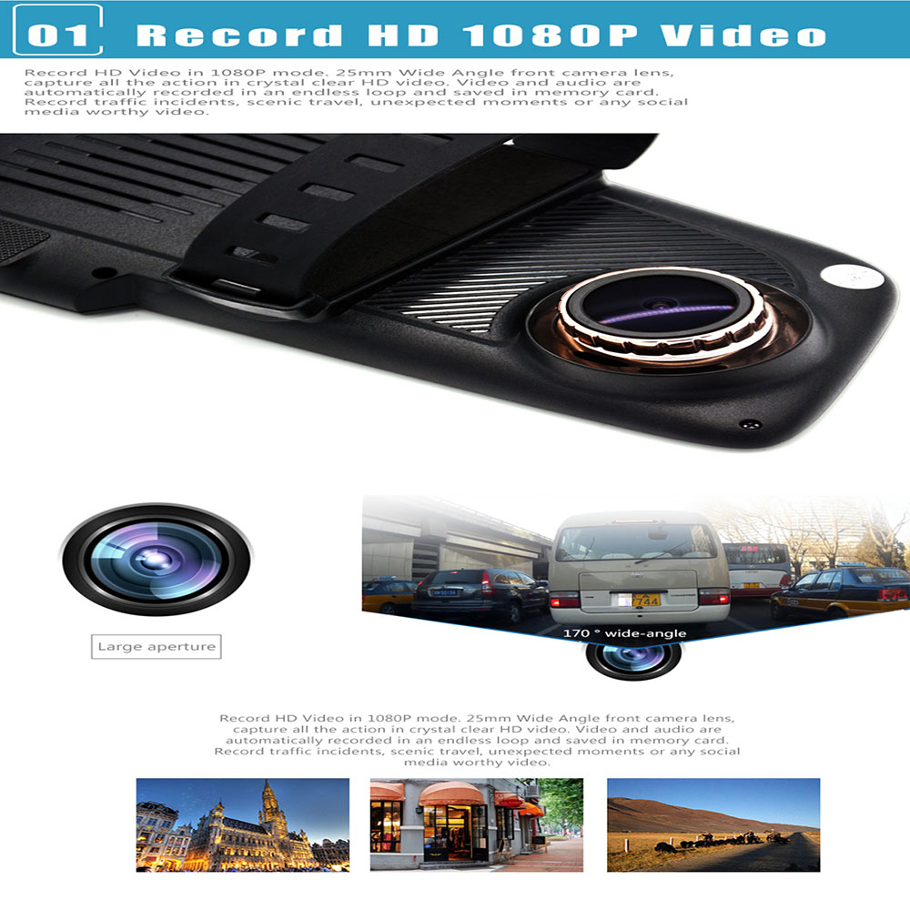 Junsun A700 Android Car Rearview Mirror GPS Navigator DVR with Free Map