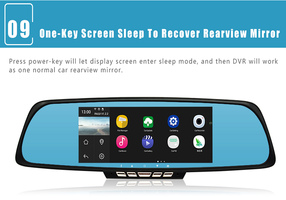 Junsun A700 Android Car Rearview Mirror Gps Navigator Dvr With Free