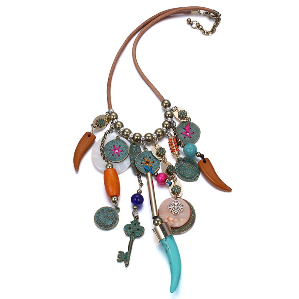 ELANDIS Vintage Exaggerated Colorful Shell Necklace with Geometric Metal Tassel for Ladies