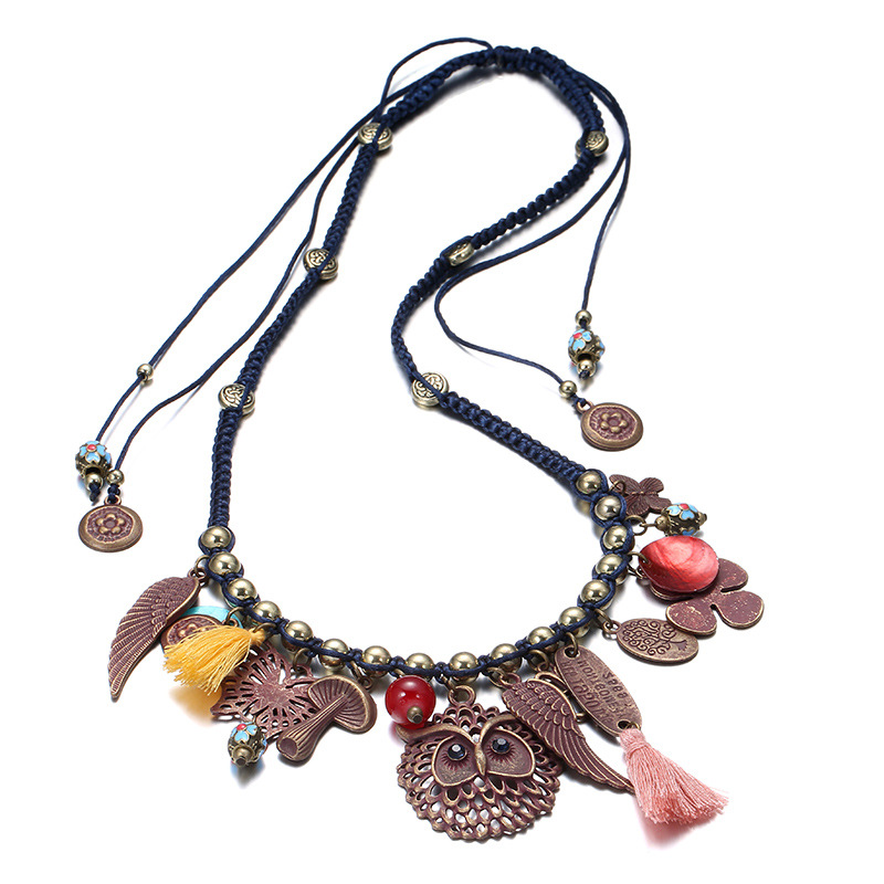 Winter National Wind Artificial Weaving Shiny Necklace with Tassel for Women