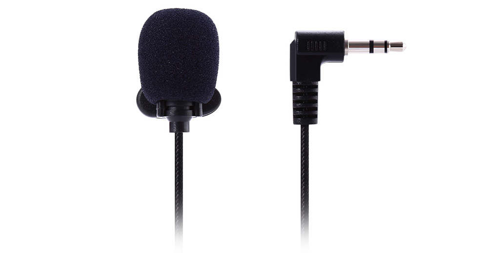 NEWGOOD N - P2 Tiny Lapel Lavalier Mic Lightweight 3.5mm Plug for PC / Laptop / Tablet- Black Bent Connector