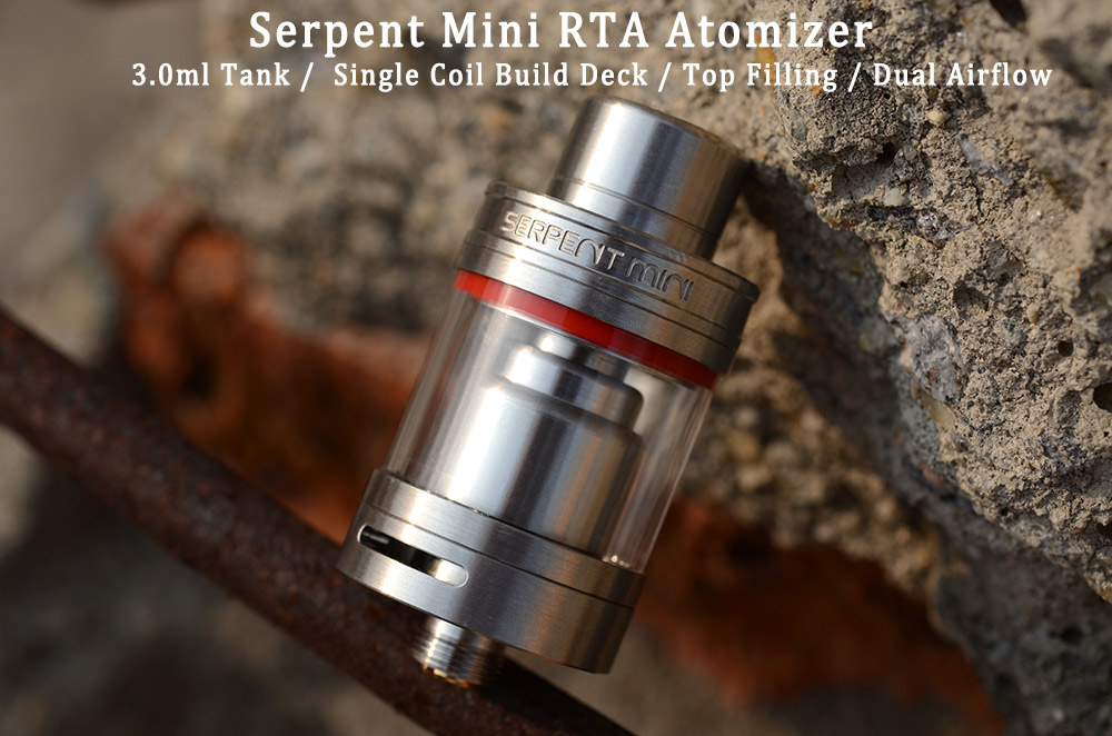 Original Wotofo Serpent Mini RTA with 3.0ml Top Filling / Single Coil Build Deck E Cigarette Rebuildable Tank Atomizer