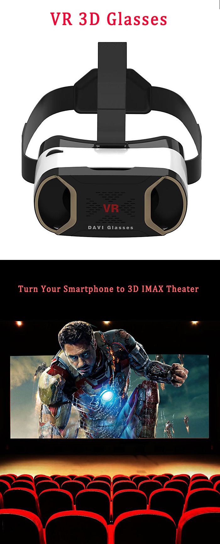 DAVI Virtual Reality 3D VR Glasses 110 Degrees FOV for 3.5 - 6 inch iOS / Android Mobile Phones Anti Eye Strain