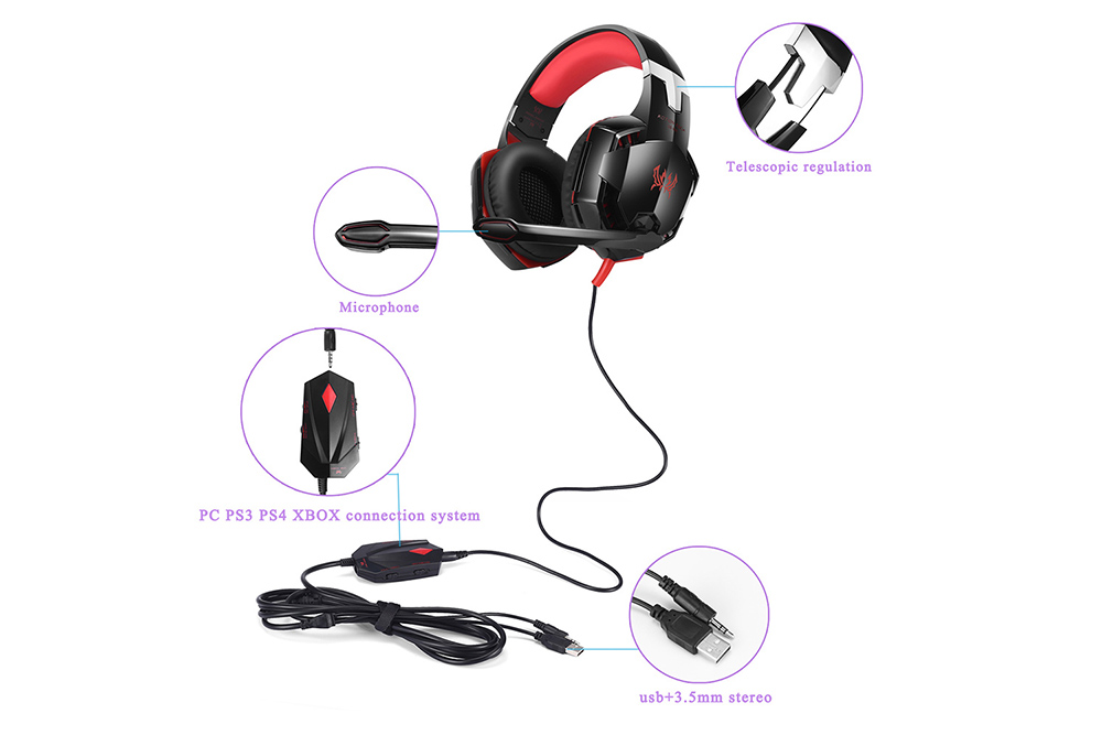kotion each gs600 headband gaming headsets with microphone 30 12 rh gearbest com PS3 Wired Headset PS4 Headset