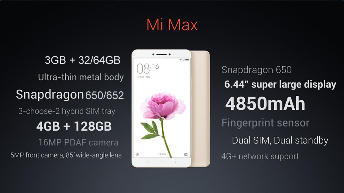 Xiaomi Mi Max 644 Inch 4G Phablet Android 60 Qualcomm Snapdragon 650 64bit Hexa Core 18