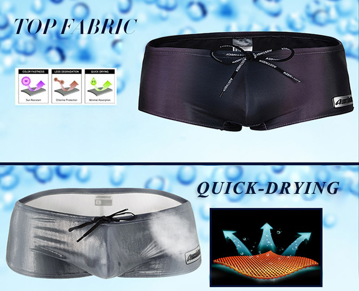 AUSTINBEM Pure Color Swimming Boxers with Draw Cord for Men