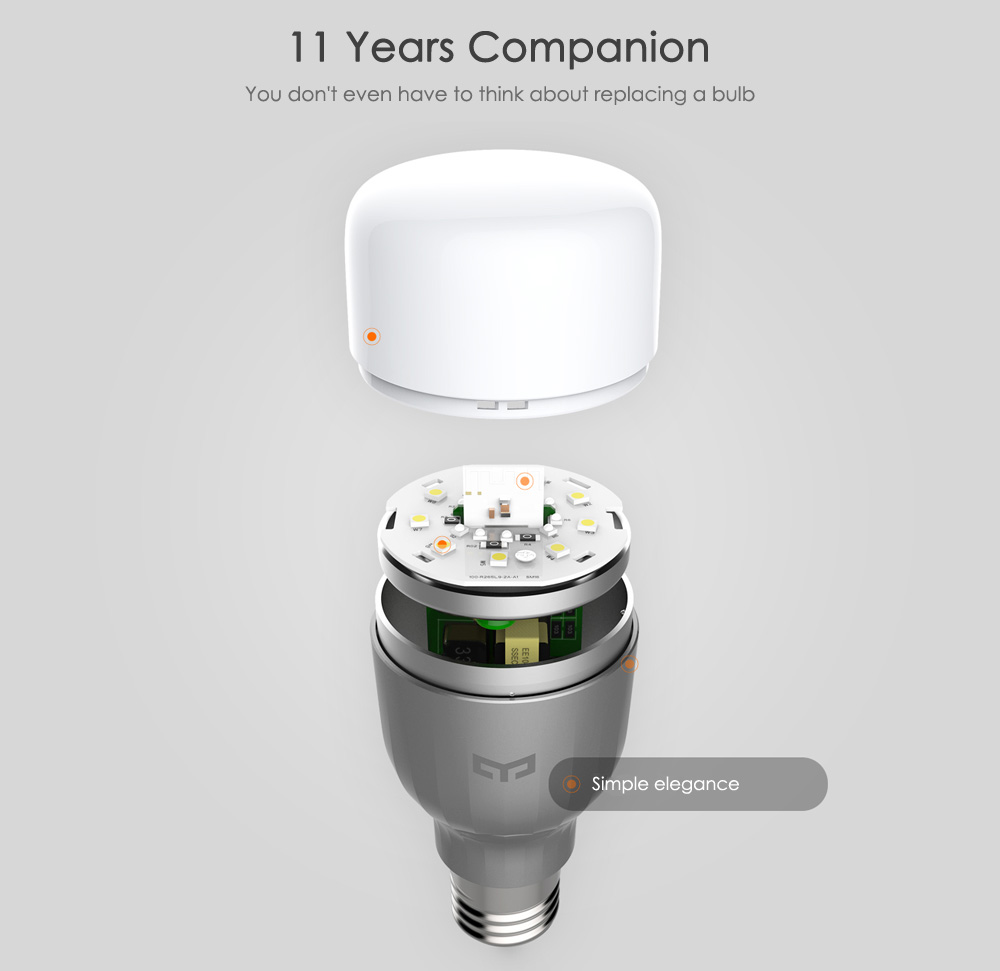 Xiaomi yeelight ac220v rgbw e27 smart led bulb 2235 online xiaomi yeelight rgbw smart led bulb wifi enabled 16 million colors cct adjustment support google home parisarafo Images