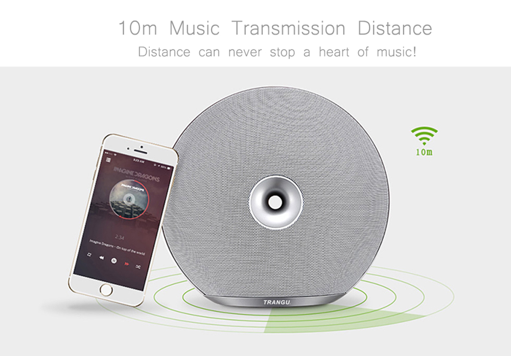 Trangu M100 Shell Type Wireless Bluetooth V4.0 + EDR Speaker with TF Card / Micro USB / AUX Port / Hands Free Call Function- Silver