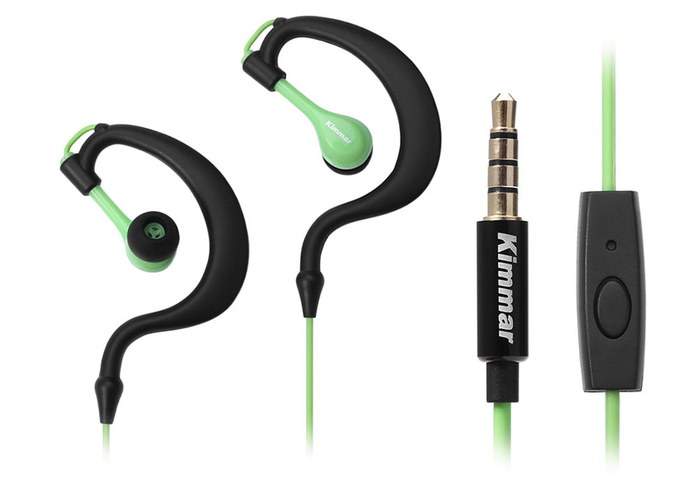 Kimmar R02 Sport Sweat Resistant Ear-hook In-ear Earphones 3.5mm Plug with Mic On-cord Control