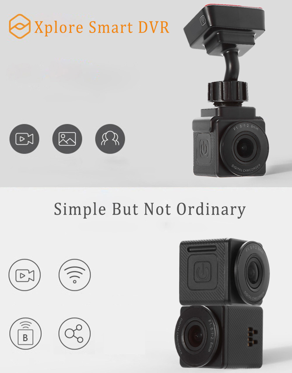 Xplore C1 1080P 155 Degree Wide Angle WiFi Car DVR Camera Recorder with Bluetooth V3.0 Quick Shoot Button G-sensor Loop Cycle Recording