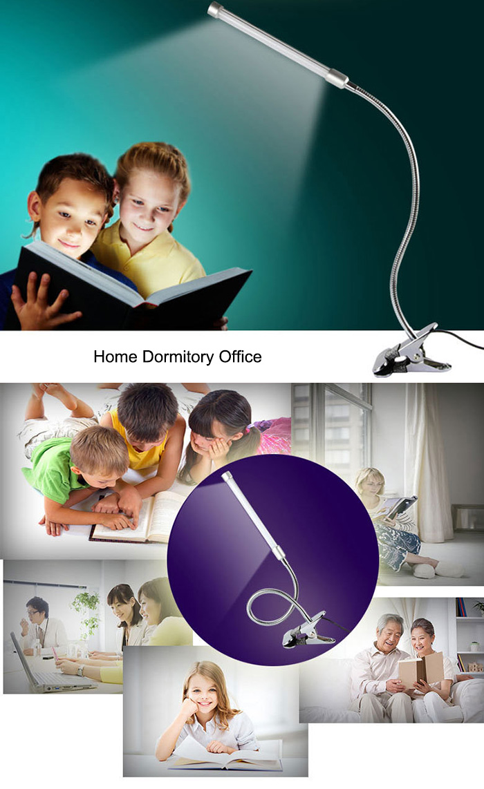 Flexible USB LED Table Lamp Adjustable Brightness Clip Design