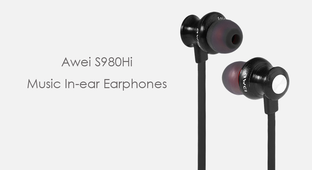 Awei S980Hi Noise Canceling In-ear Earphones with Mic Song Switch Volume Control- Black