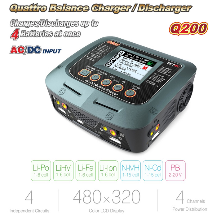 SKYRC Q200 4CH Balance Charger Color LCD Screen Discharger Fitting for RC Model Battery