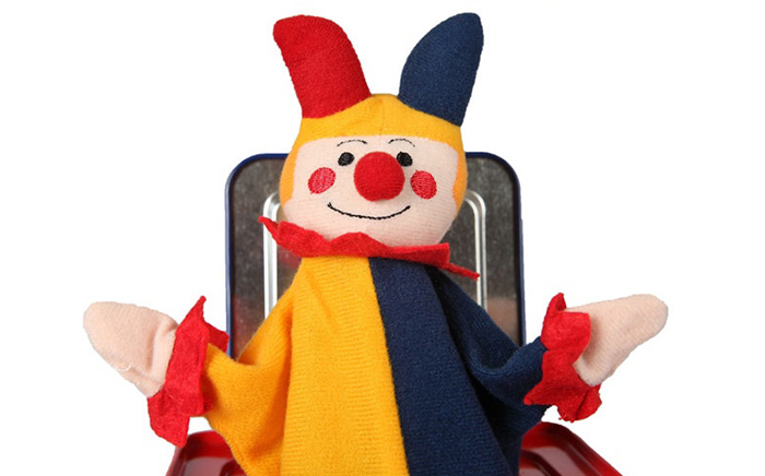 Curious Plush Clown Style Metal Music Box with Rotating Handle