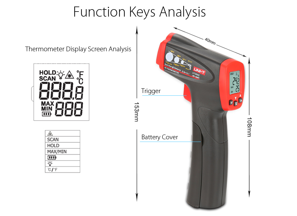 UNI - T UT300C Non-contact Infrared Laser Thermometer Handhold Test Device- Gray