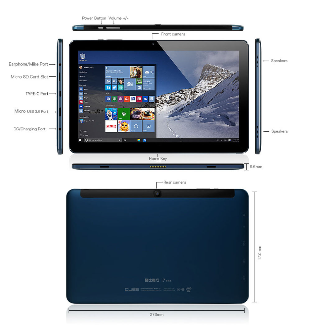 Cube I7 Book 2 In 1 Tablet Pc 36026 Free Shipping Orico Pd 20 Hdd Case Windows 10 Intel Skylake Core M3 6y30