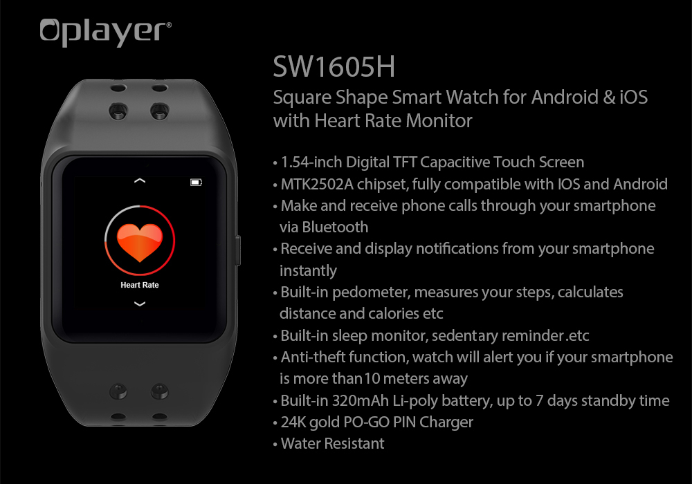 Oplayer SW1605H BLE 4 0 Heart Rate Monitor Smartwatch for Android Phone