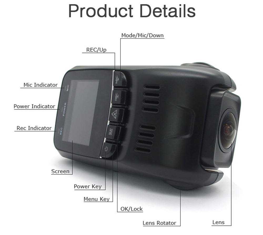 B40d a118c upgrade version 1080p full hd 170 degree wide angle dual lens car