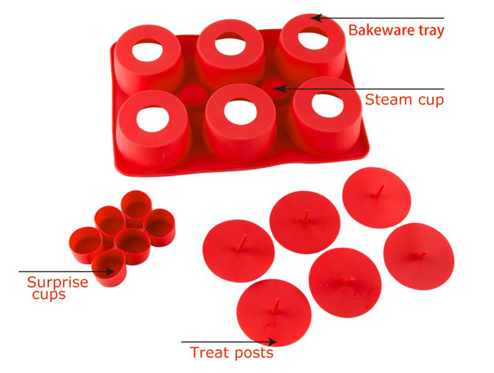 KC - 1012 Silicone DIY Cupcake Maker Assemble Mold Candies Chocolate Biscuit Manual Tool- Red