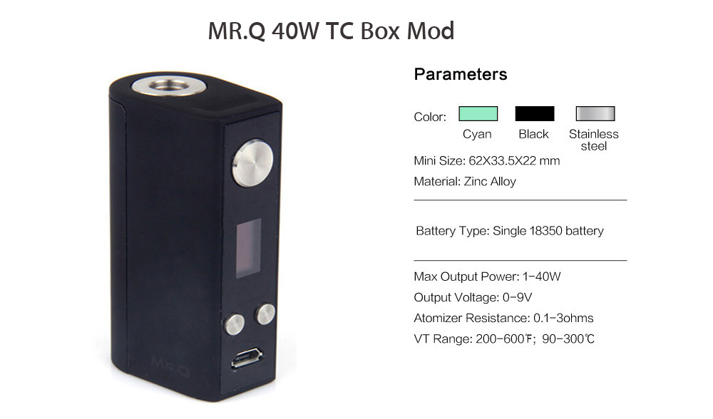 Original SMY MR.Q 40W Mod Kit with Firmware Upgradeable 1 - 40W / 200 - 600F / 90 - 300C Box Mod / 2.0ml / 0.8ohm Atomizer for E Cigarette