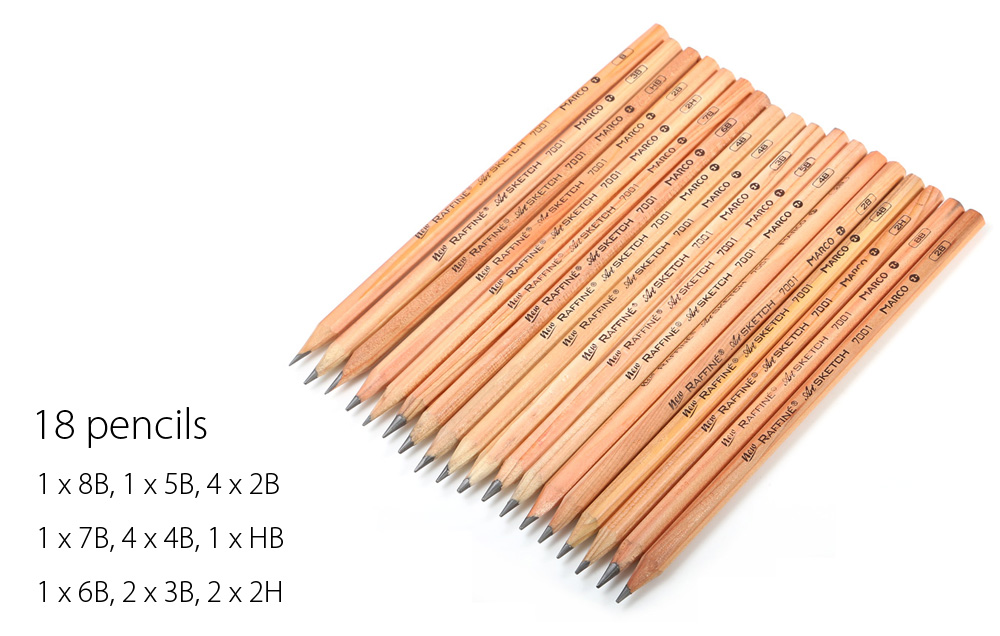 Marco 28 in 1 Sketch Drawing Pencil Set - $10.31 Free Shipping ...