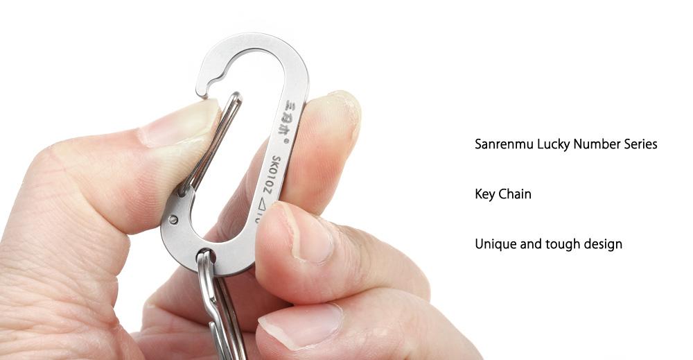 Sanrenmu SK010Z Lucky Number Stainless Steel Key Chain for Outdoor