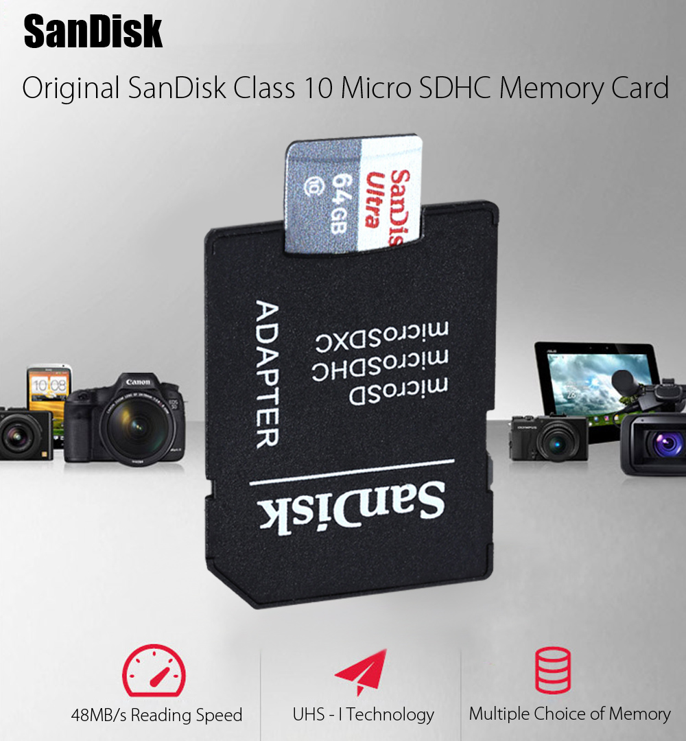 Original Sandisk 16gb Class 10 Micro Sdhc Memory Card 849 Free Ultra Speed 48mb S Uhs I 8gb With Adapter