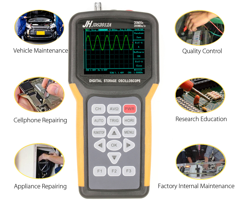 Jinhan Jds2012a Handheld Oscilloscope Digital Multimeter 12195 Storage Adapter Product Safety Disclaimer We Do Not Accept Any Responsibility Or Liability For Misuse Of This Other All Our Products Are Extensively Tested